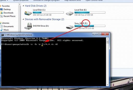 بازگردانی فایلهای ناپدید شده فلش توسط ویروس